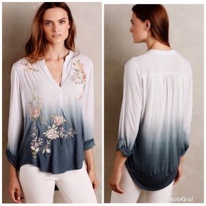 Tiny Anthropologie Ombre Floral Embroidered Top